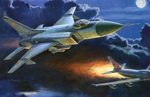 Arte retratando o Sukhoi Su-15TM Flagon-M abatendo o Boeing 747 do voo KAL 007 da Korean Airlines