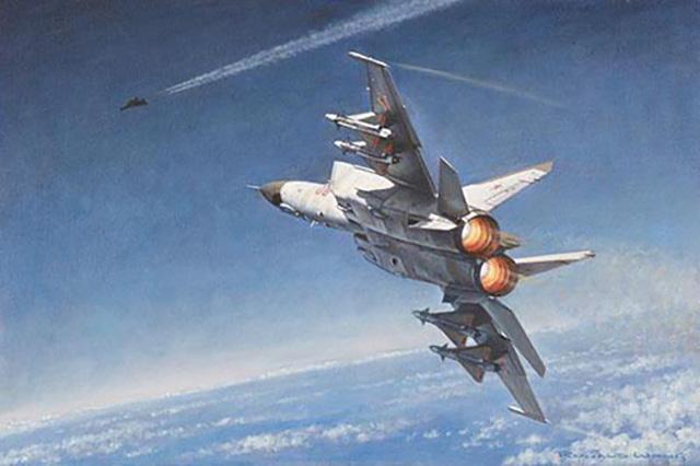 Ilustração de um MiG-31 engajando um SR-71