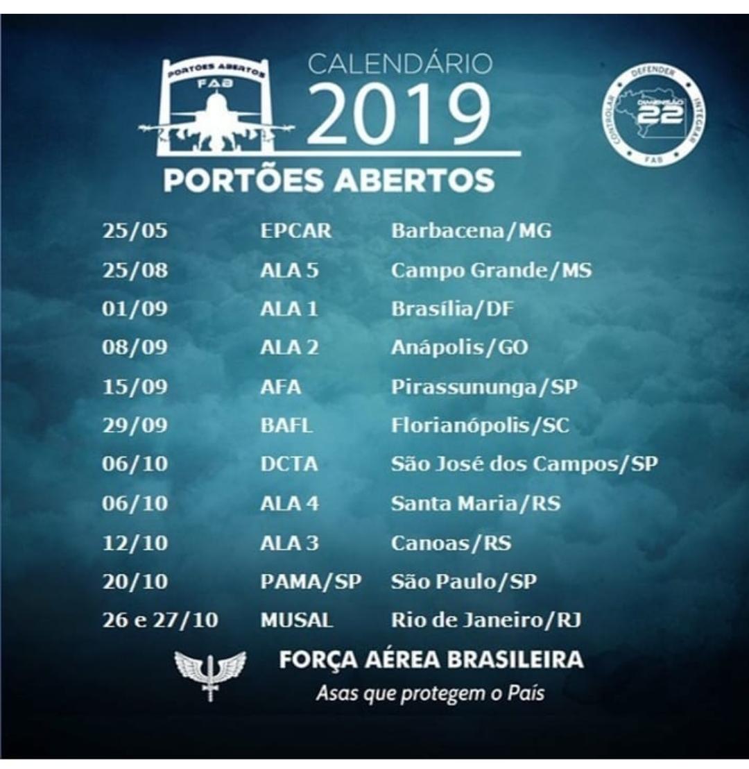 Calendario 2019 Campo Grande Ms.Calendario Dos Portoes Abertos Da Fab 2019 Poder Aereo