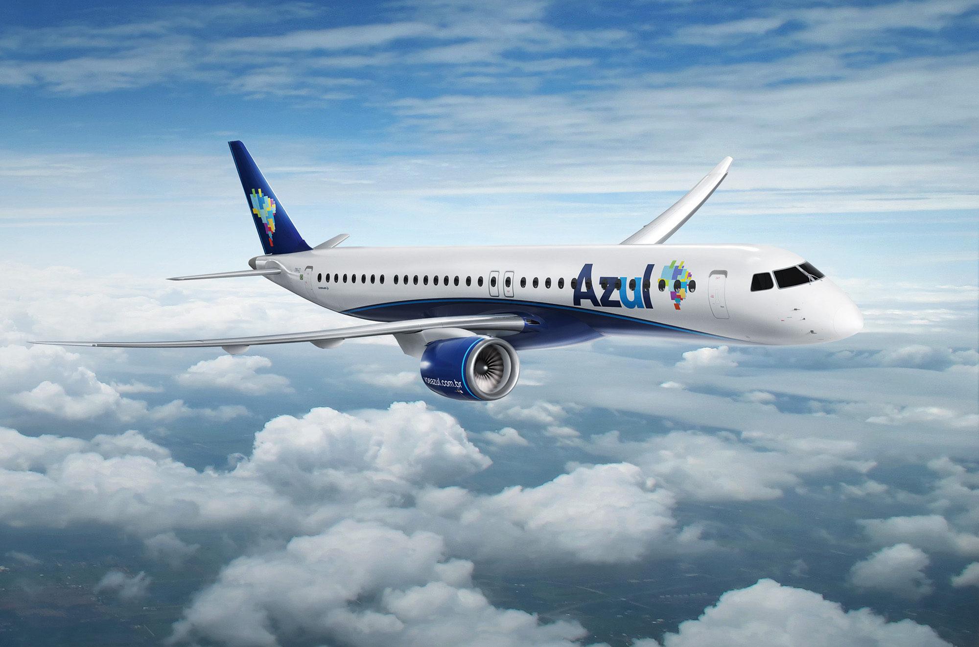 Concepção artística do Embraer E195-E2 da Azul