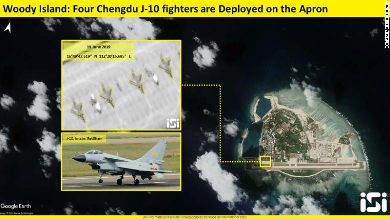 Caças J-10 para a Woody Island no Mar da China Meridional - ImageSat International (ISI)