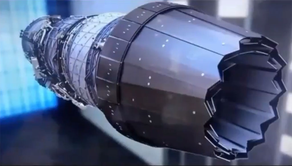 Imagem capturada de vídeo do turbofan WS-15