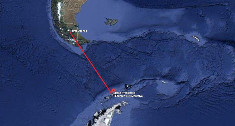 Avião C-130 saiu de Punta Arenas para a Base Presidente Eduardo Frei Montalva - Divulgação - Google Maps