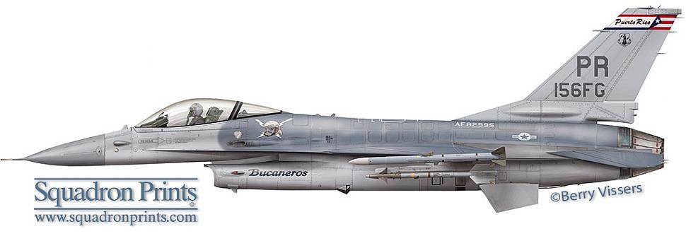 Perfil do F-16A dos Bucaneros do 198th Fighter Squadron