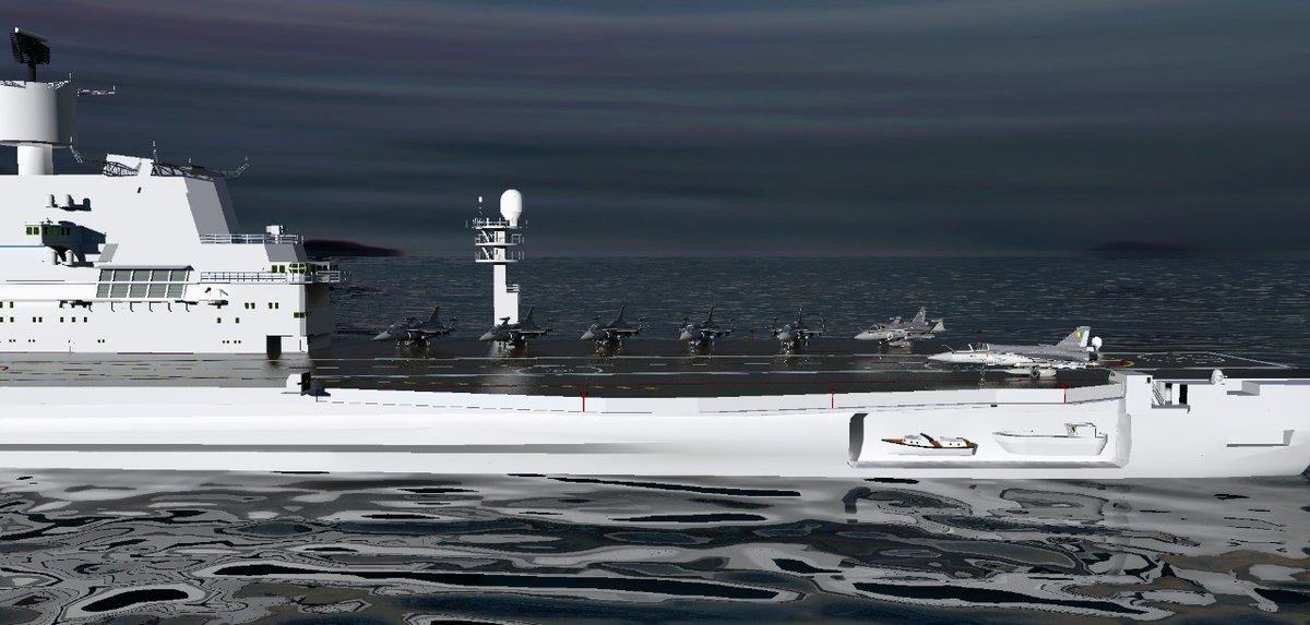 Renderização em 3D de vários Twin Engine Deck Based Fighter - TEDBF a bordo do INS Vikramaditya