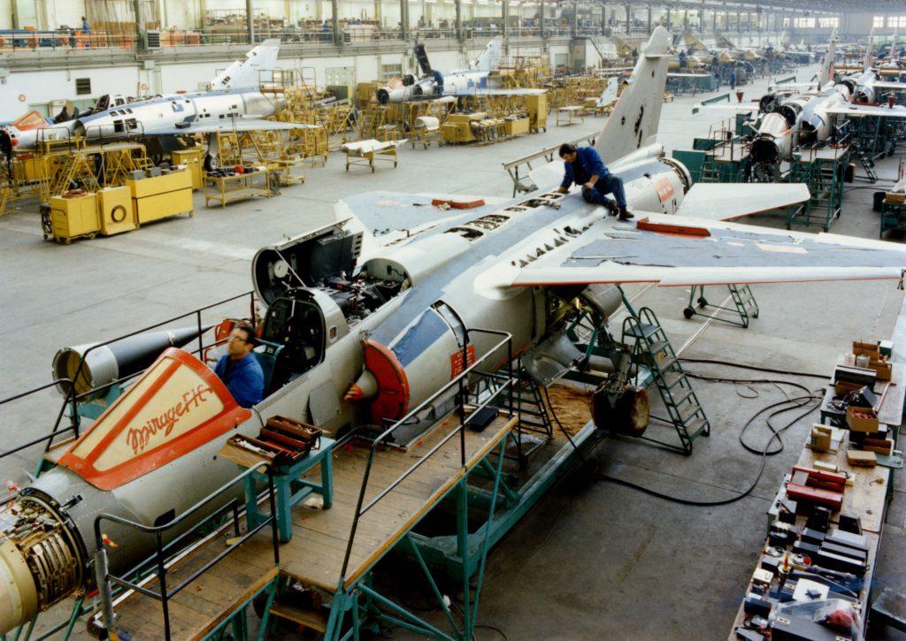 Linha de produção do Dassault Mirage F1