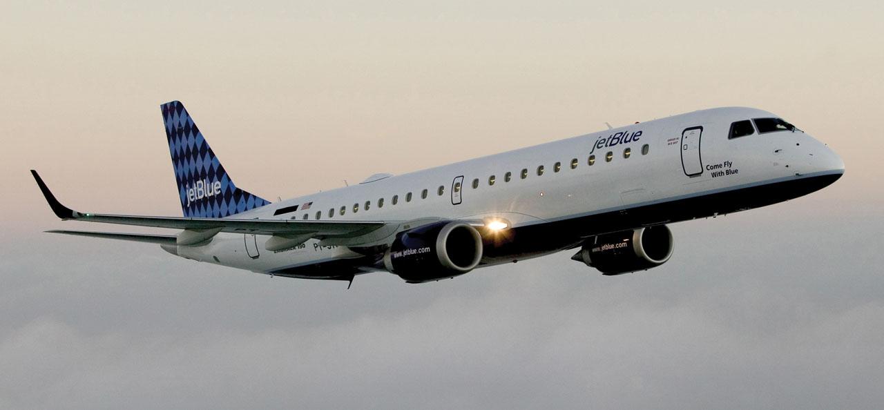 JetBlue Embraer 190 over Brazil