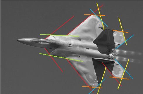 F-22 alinhamento das superfícies