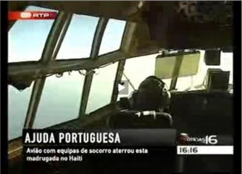 ajuda portuguesa C-130 Haiti - imagem vídeo RTP via FAP