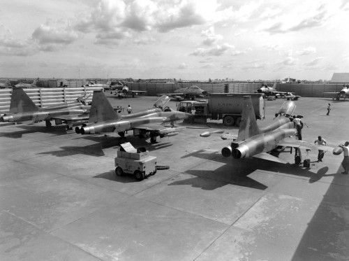 Three F-5A aircraft, armed with 750 pound bombs, shown in the revetment area at Bien Hoa Air Base, Republic of Vietnam, Jan. 31, 1966. (U.S. Air Force photo)