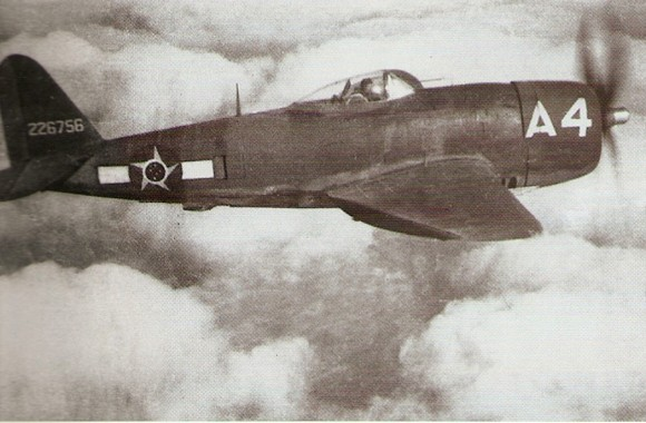 Rare photo in flight of the P-47 A-4- flown by LT Alberto Martins Torres-He was the champion in number of combat missions 100