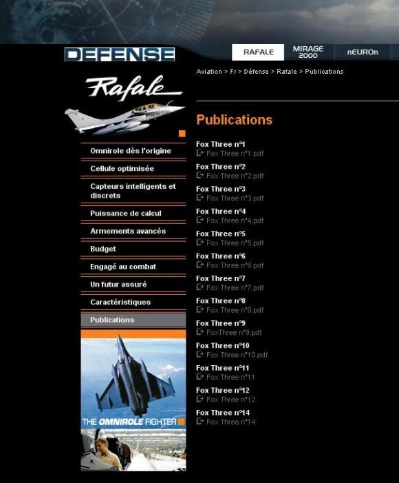 Números publicados Fox Three - imagem do site Dassault Aviation